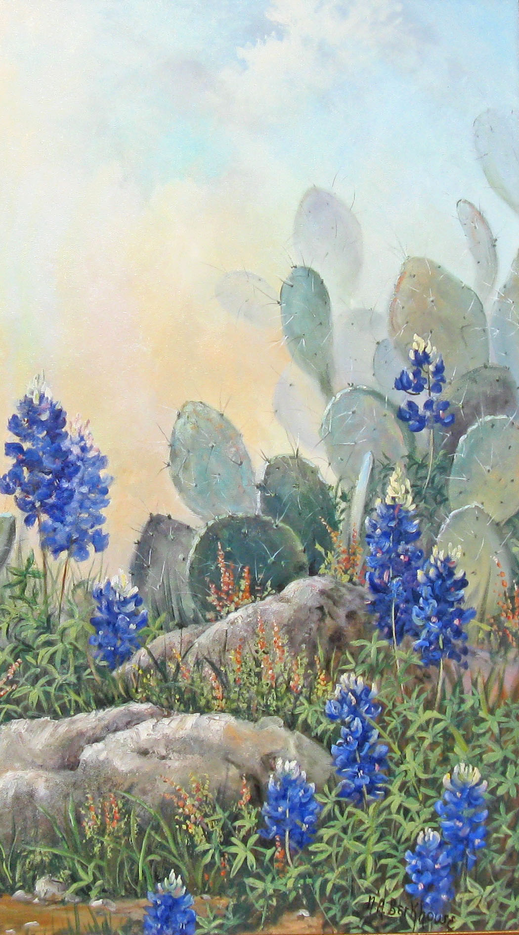 Bluebonnets and Cactus 1